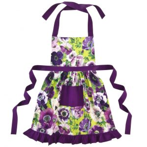 purple frilly apron
