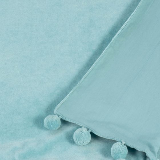 duck egg blue velvet throw