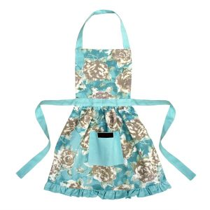 Betsy Girls Frilly Apron Duck Egg Blue