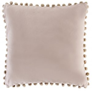 Taupe Cushion With Pom Pom Trim