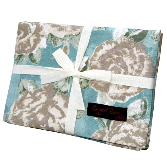 Duck Egg Blue Cotton Floral Tea Towels