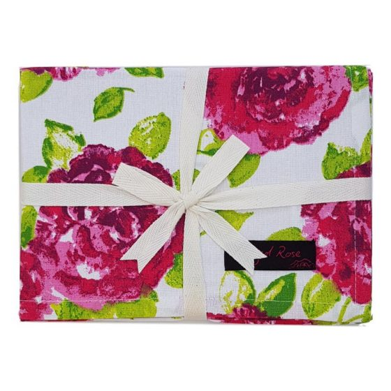 Tracy Tea Towels with Red Rose Print