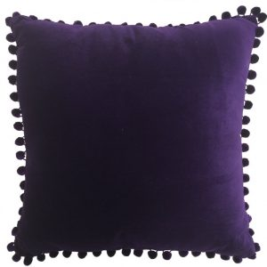 Purple Velvet Pom Pom Cushion