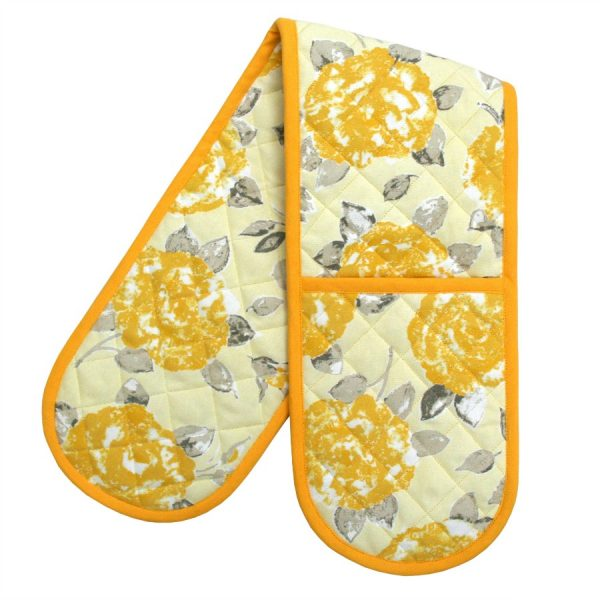 Bertha Double Oven Gloves Gold Rose