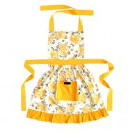 yellow frilly apron