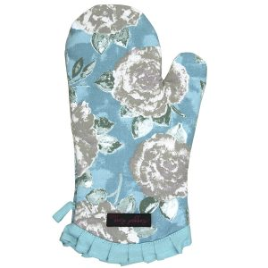 Frilly Oven Glove Duck Egg Blue Rose