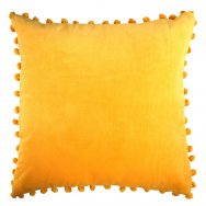 Gold Velvet Pom Pom Cushion