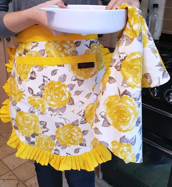 Tilly Gold Vintage Half Apron and Tracy tea towel