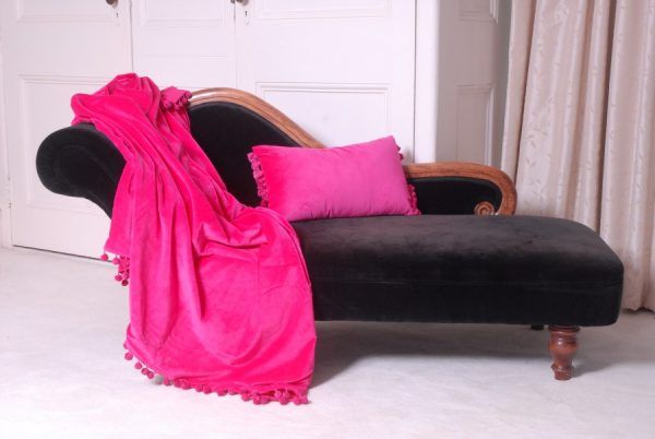Pink Velvet Cushion and throw on chaise