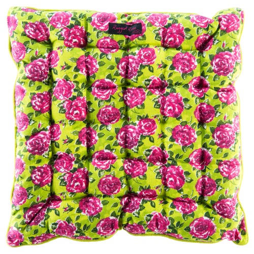 Lime Green Seat Pad Small Pink Roses