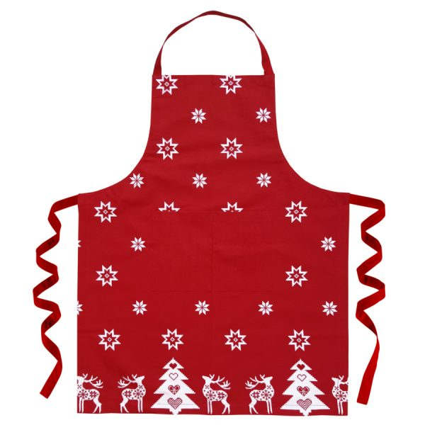 red festive christmas apron