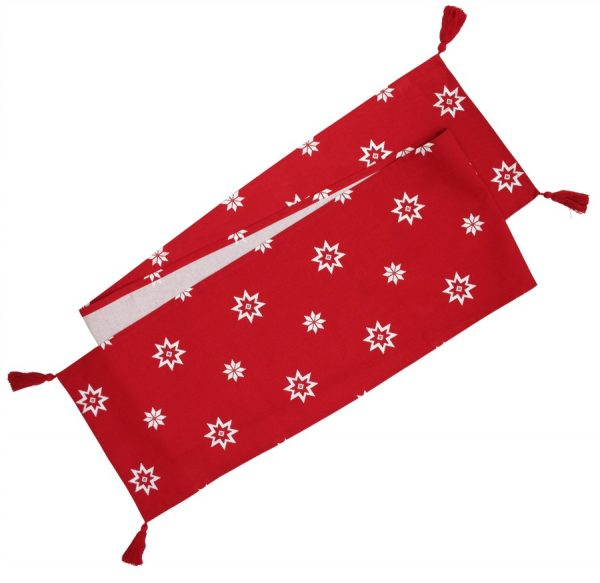 Christmas Red Festive Star Table Runner