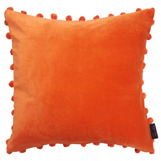 orange velvet pom pom cushion