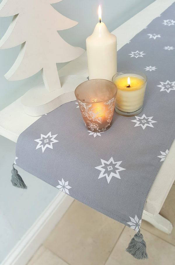 silver grey christmas table runner