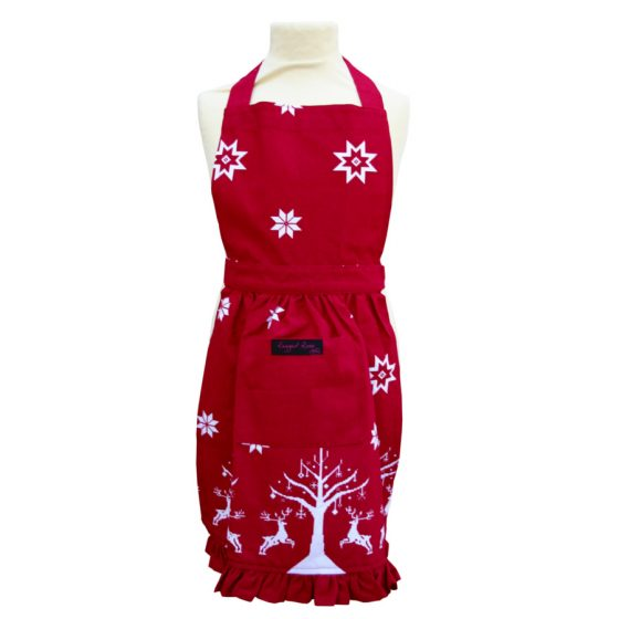 childs red christmas apron