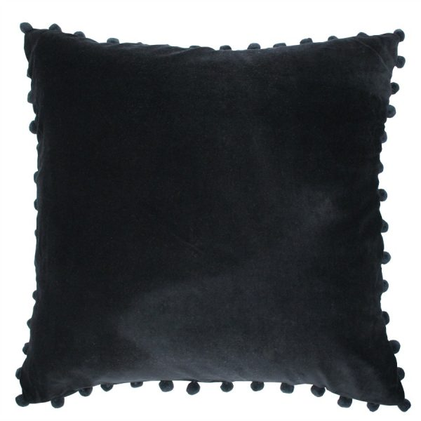 Black Velvet Pom Pom Cushion