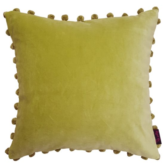 Kiwi Lime Green Velvet Pom Pom Cushion