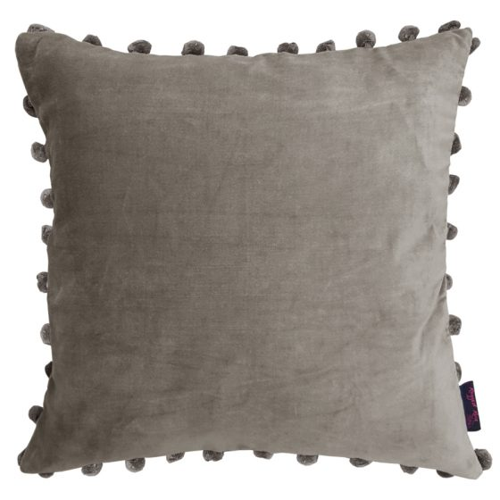 silver grey Velvet Pom Pom Cushion