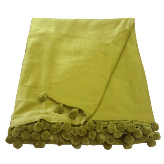 Kiwi Lime Green Velvet Throw With Pom Pom Trim