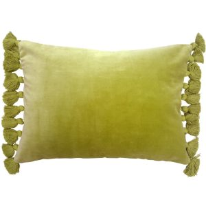 Kiwi green velvet fringe cushion