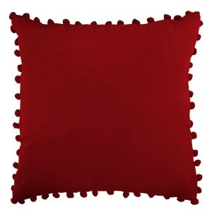 Red Velvet Pom Pom Cushion