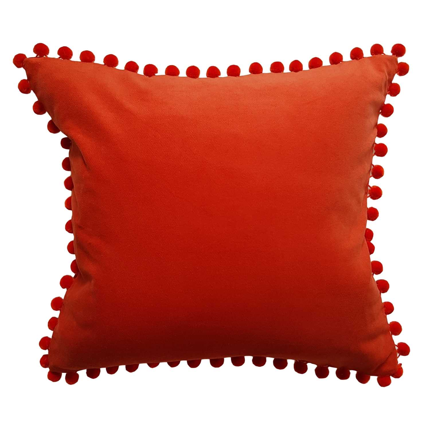 orange velvet pompom cushion