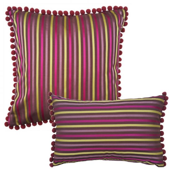 wine satin stripe cushion