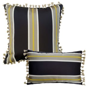 Grey Gold Block Striped Cushion