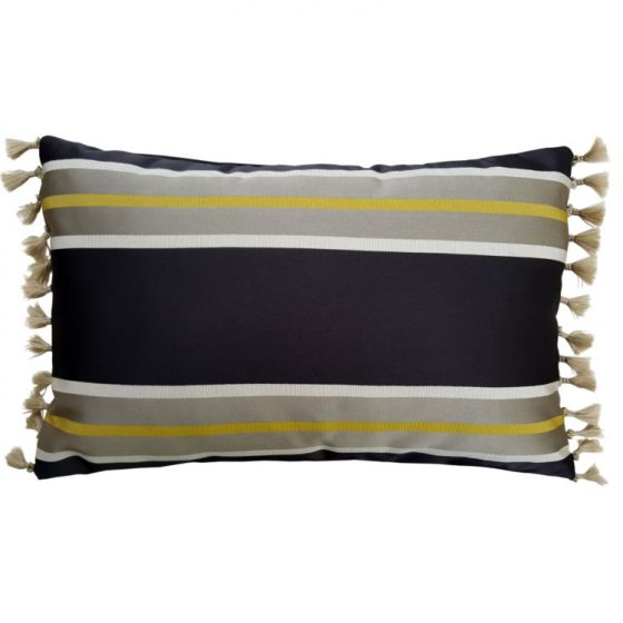 Satin Grey Gold Block Stripe Oblong Cushion