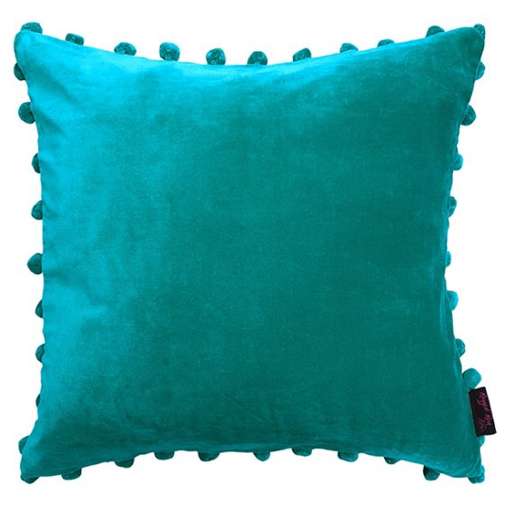 teal blue velvet cushion