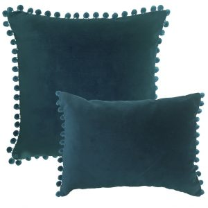 petrol blue velvet pom pom cushion