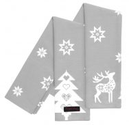 grey festive reindeer tea towels