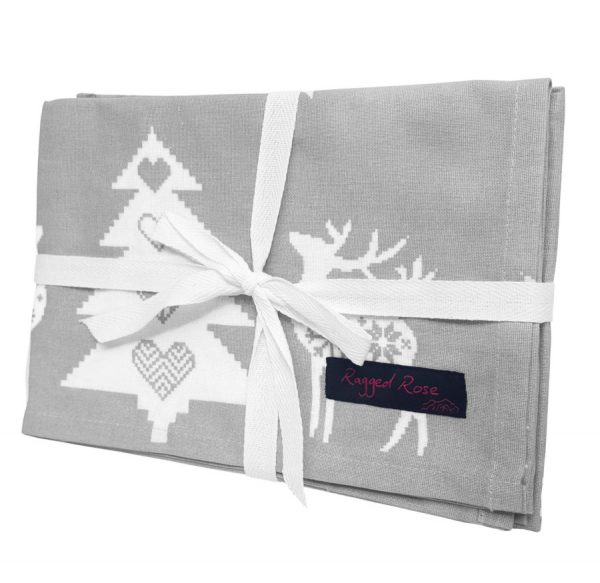 Silver Grey Christmas Reindeer Tea Towels