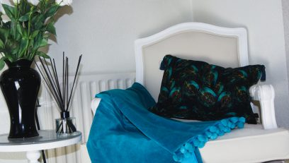 Blue Peacock Velvet Cushion
