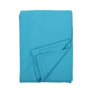 plain teal cotton tablecloth