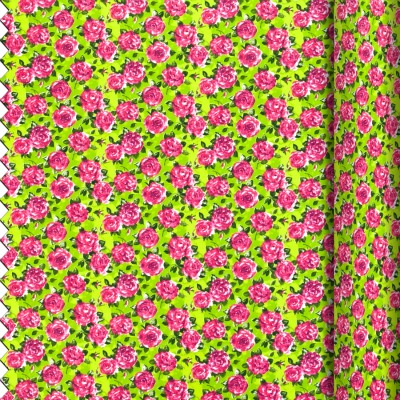 PVC fabric lime rose