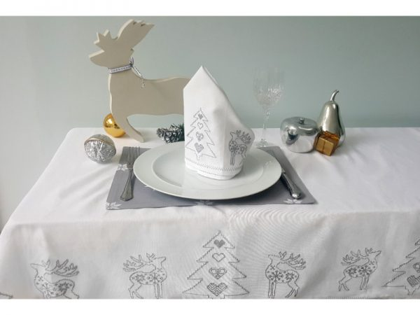 Tessa embroidered christmas tablecloth greyTessa embroidered christmas tablecloth grey