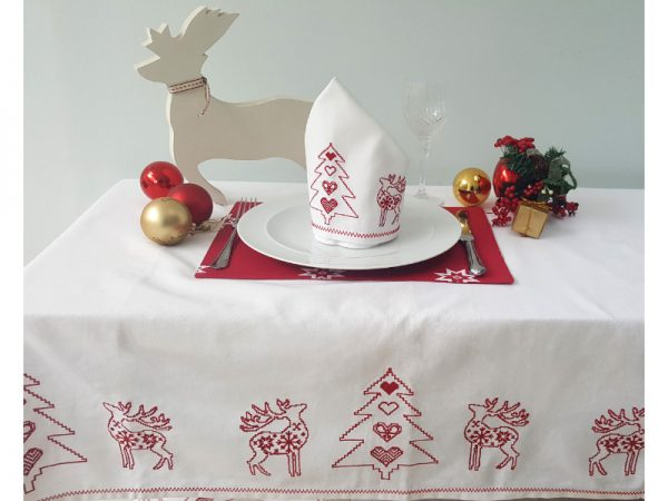 Tessa embroidered christmas tablecloth red