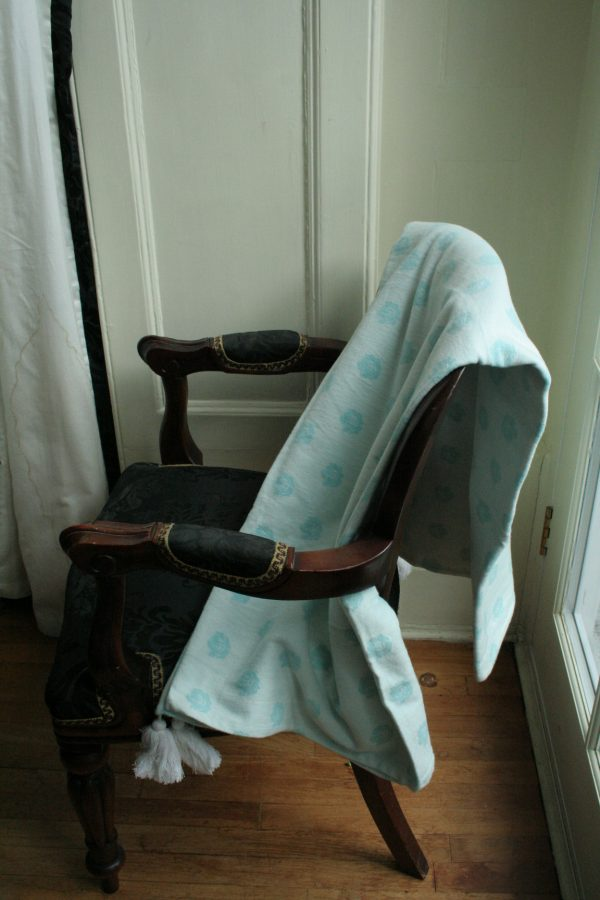 Jacquard duck egg blue throw