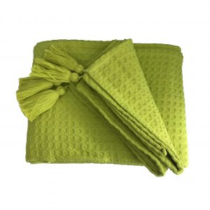 Lime green waffle throw