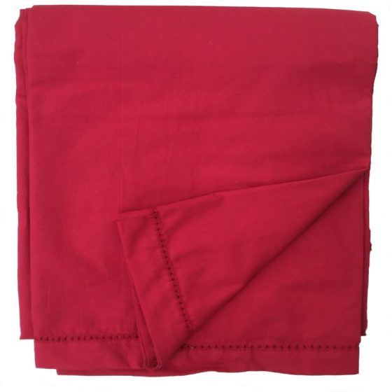 plain red tablecloth