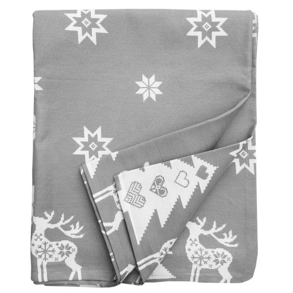 silver grey Christmas star tablecloth
