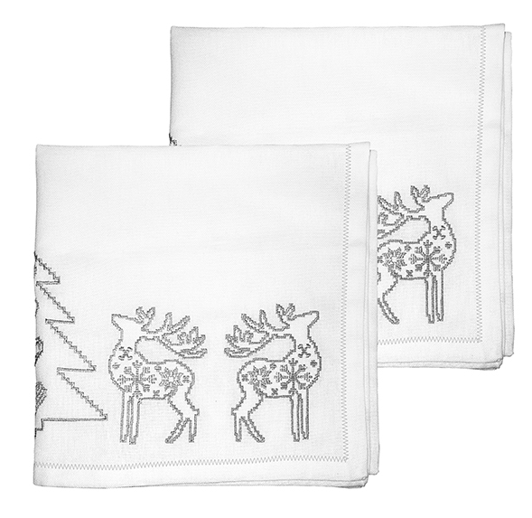 Embroidered Silver Christmas Napkin