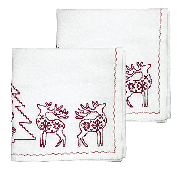 Embroidered red Christmas Napkins