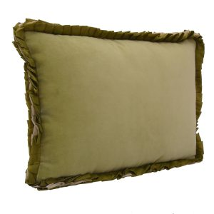 Ribbon lime green velvet cushion