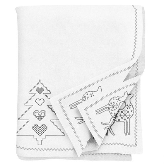 Silver Embroidered Christmas Tablecloth
