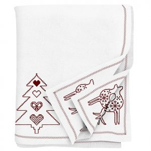 Red Embroidered Christmas Tablecloth