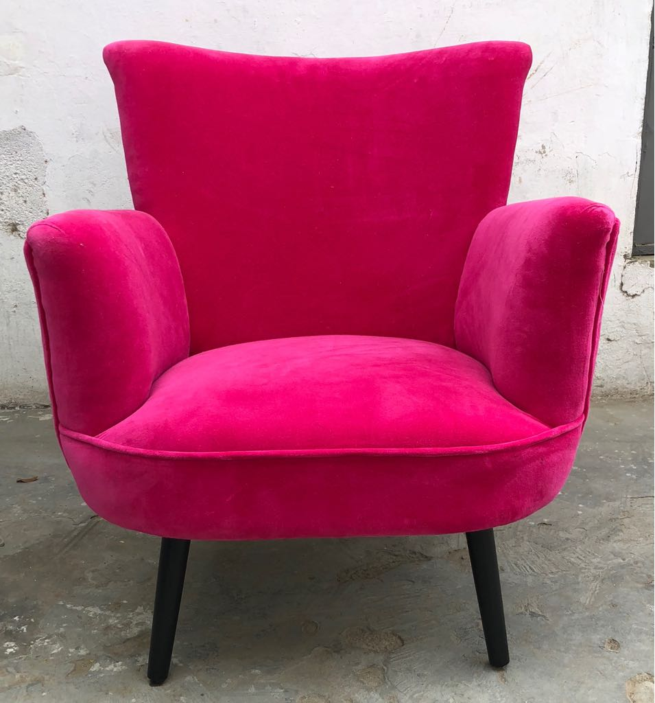 Picture of: Alma Fuchsia Pink Velvet Armchair By Raggedrose