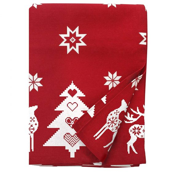 red christmas tablecloth