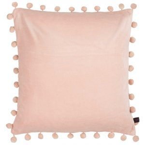 blush pink velvet pom pom cushion